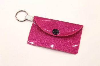 Bright Pink Glitter vinyl Card Holder