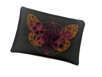 Butterfly Faux Leather Clutch Bag