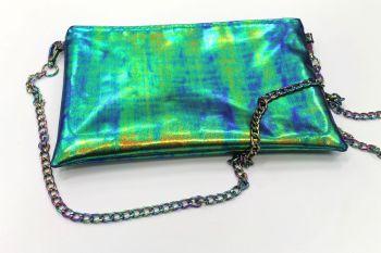 Ocean Blue Shimmer Green Clutch Bag