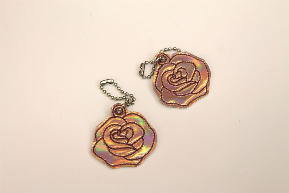 Rose Gold Flower Keyring