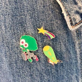Alien Spaceship Pin Set