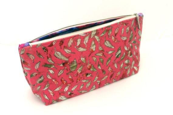 Metallic Feather pink Make-up Bag
