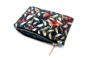 Metallic Blue Feather Make Up Bag