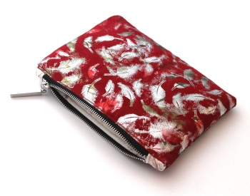Red Metallic Feather Makeup Bag