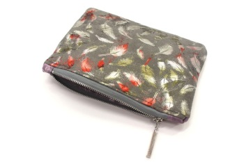 Metallic Feather Grey Makeup Bag