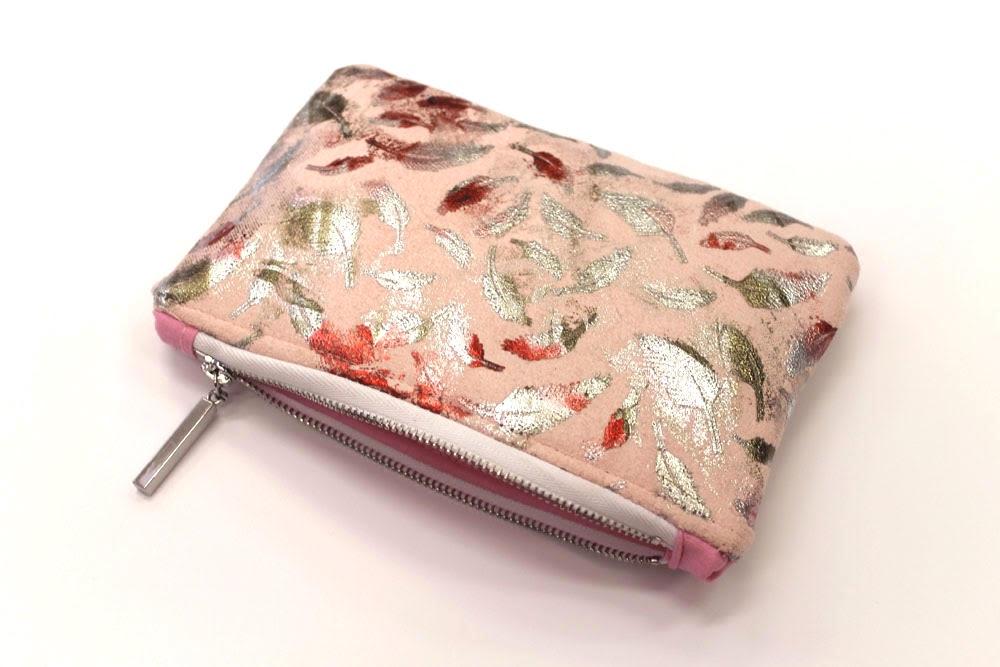 Metallic Pink Feather Makeup Bag