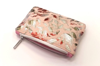 Metallic Pink Feather Makeup Bag
