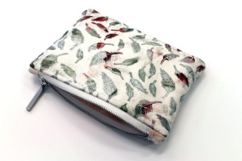 Metallic White Feather Makeup Bag