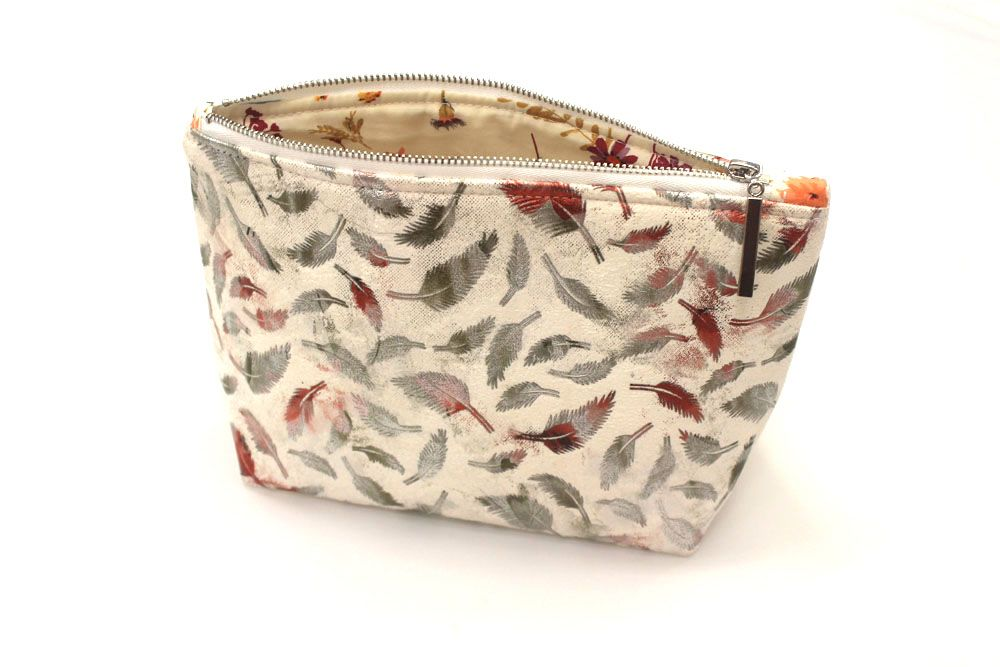 White Feather Makeup Bag
