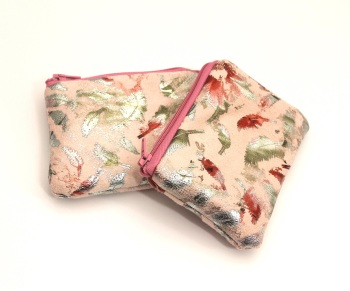 Pink Metallic feather coin purse