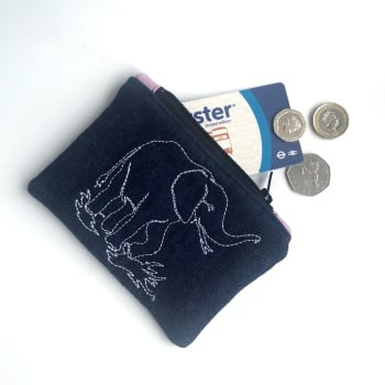 Denim Elephant Coin Purse