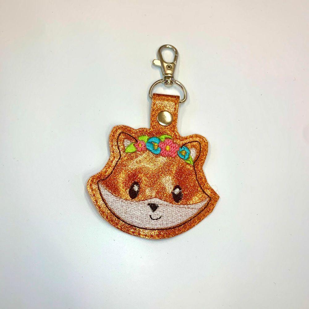Floral fox Keyring