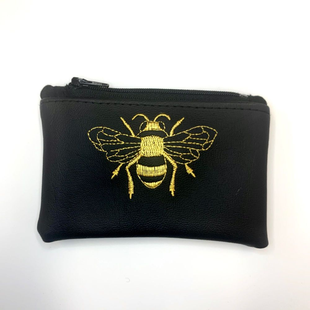 Embroidered Bumble Bee Purse