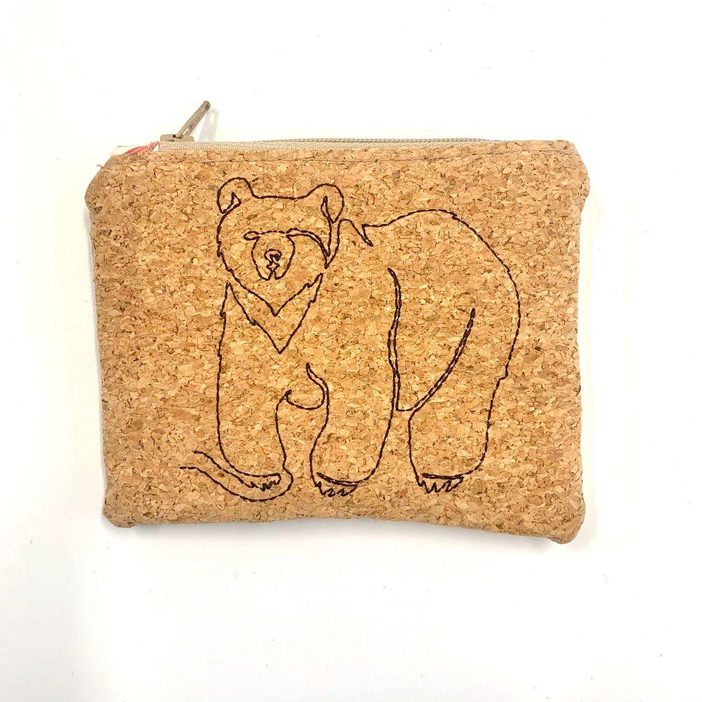 Cork embroidered Bear Coin Purse