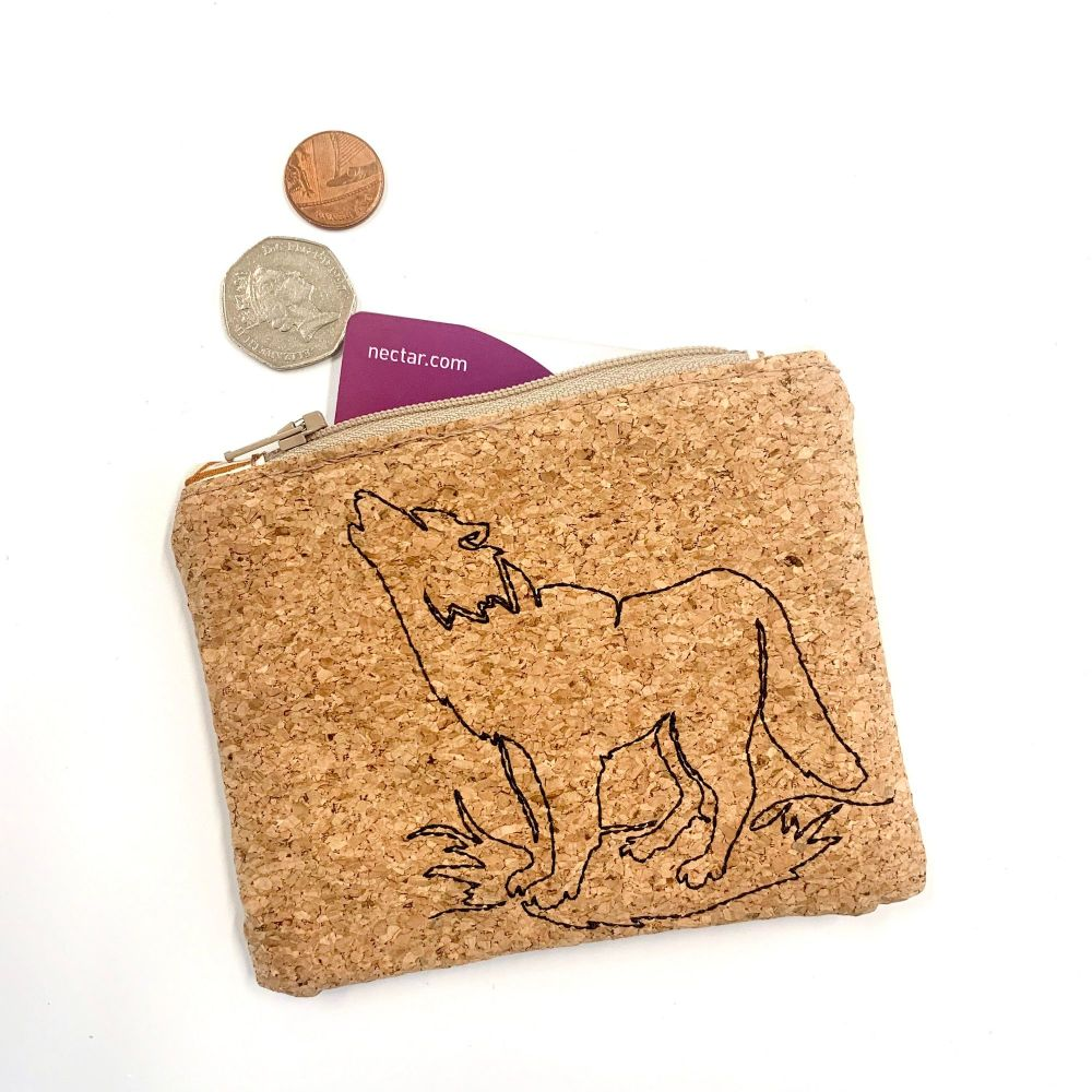 Cork embroidered Wolf Coin Purse