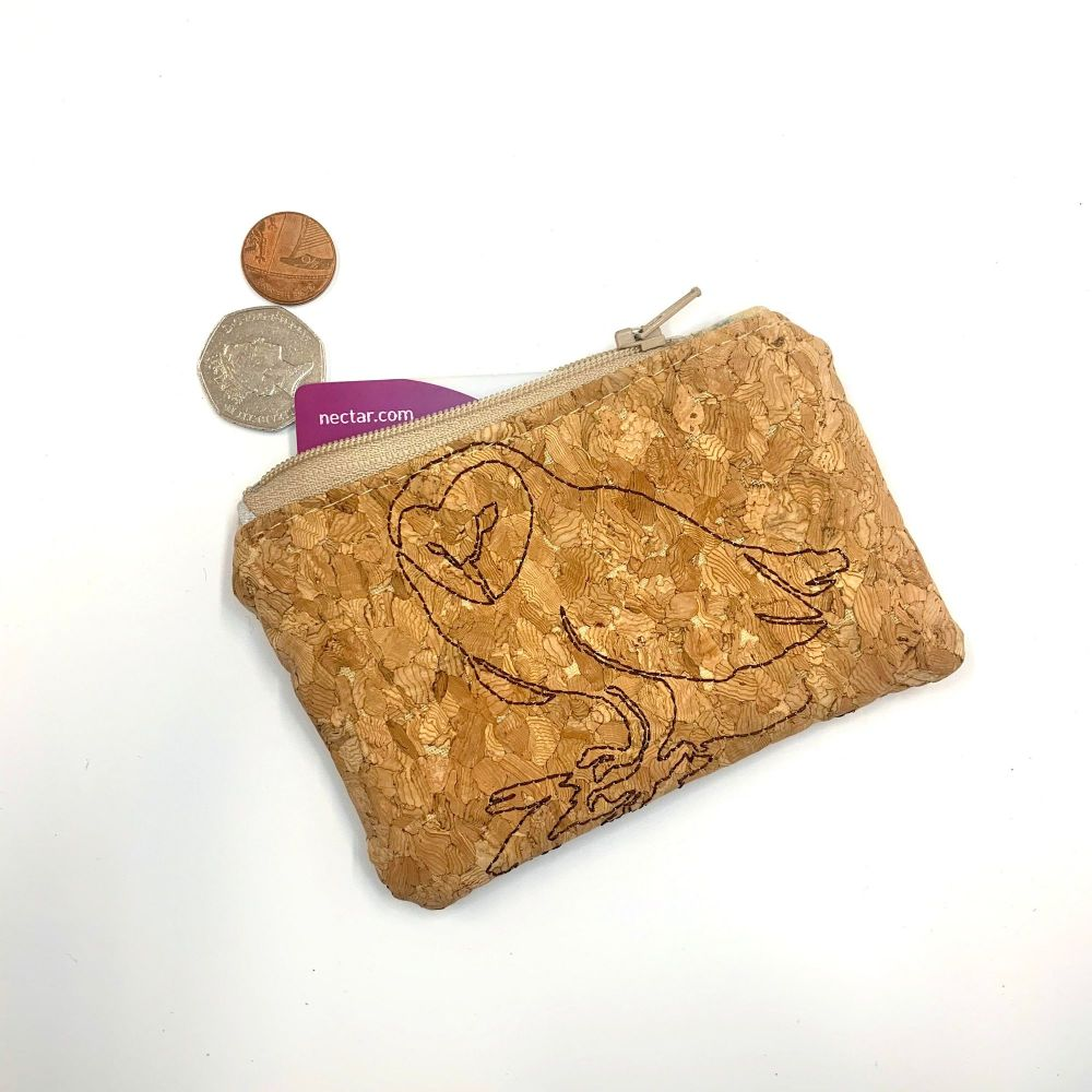 Cork Embroidered Owl Coin Purse