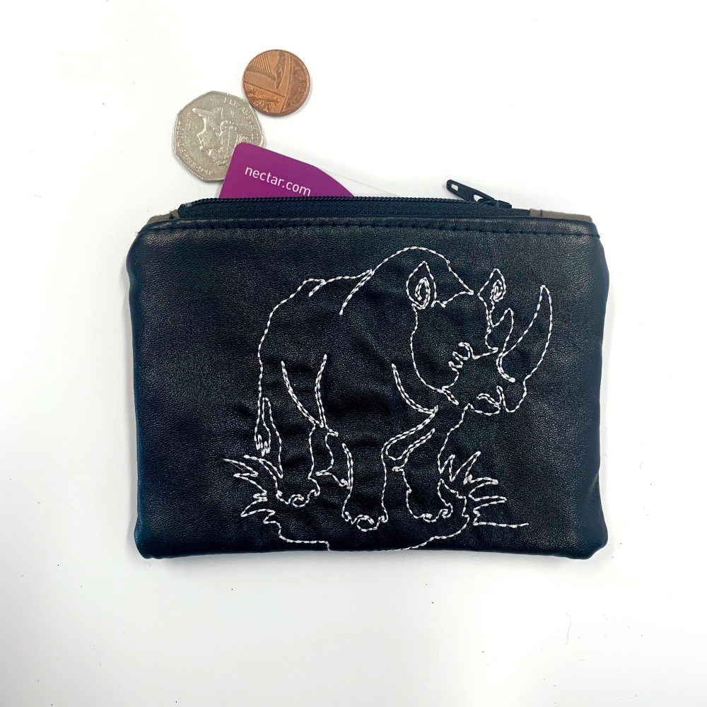 Rhino Black Coin Purse