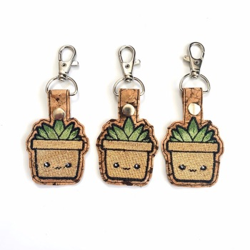 Kawaii succulents keyring