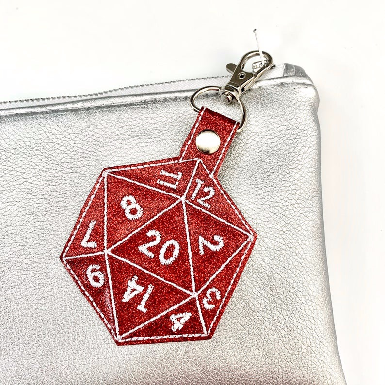 Red D20 Dice Keyring
