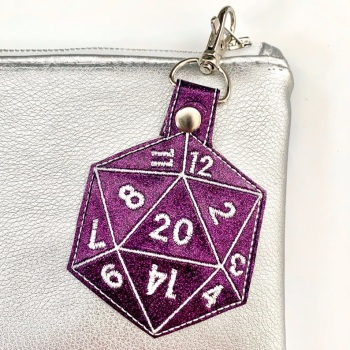 D20 Dice Keyring Purple