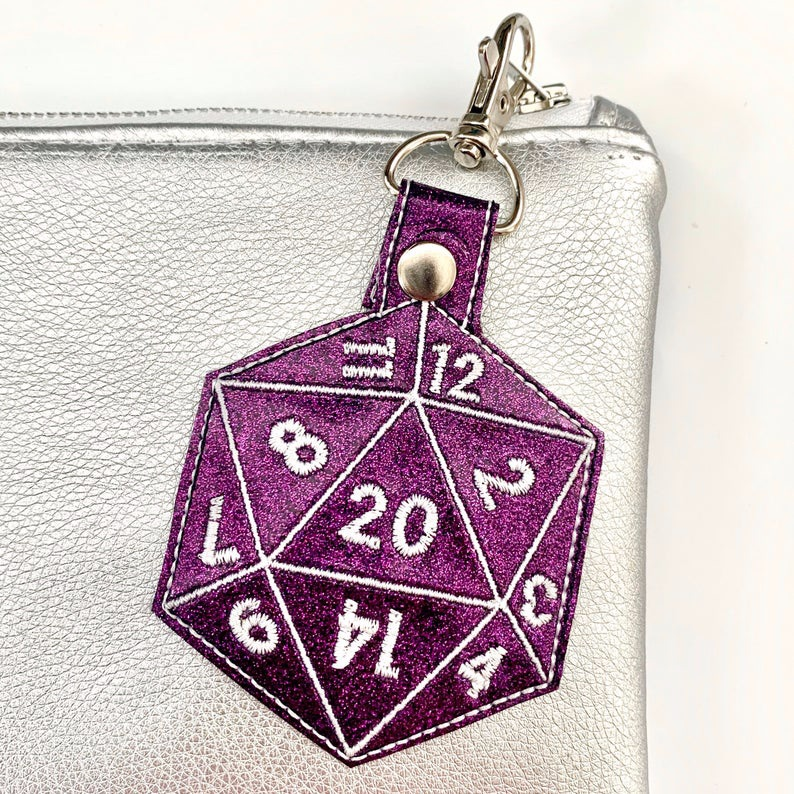 D20 Dice Keyring Purple