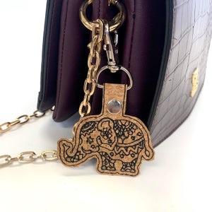 Elephant Keyring , mandala Cork Elephant Bag charm ,Animal Lover gift