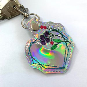 Holographic floral Heart Bag Charms , Keyrings