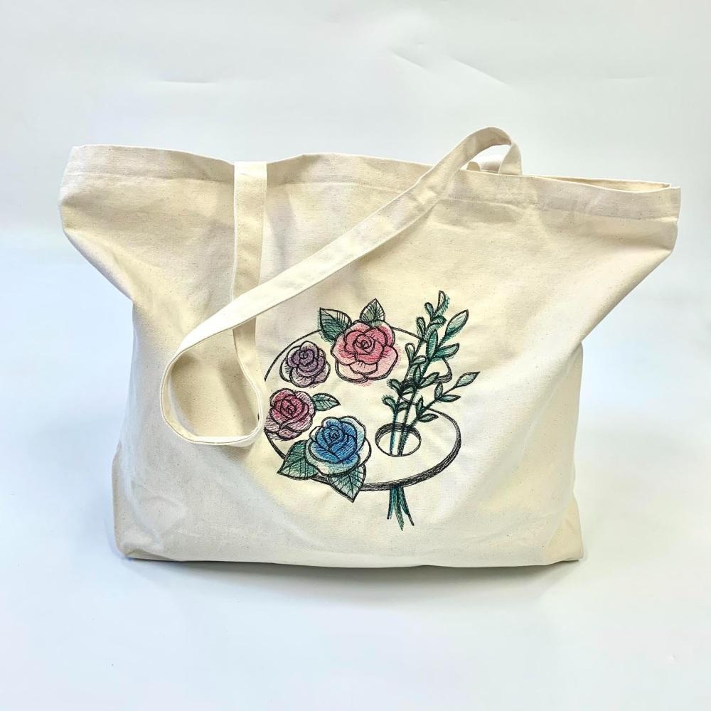 Floral Paint Canvas shopper bag