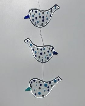 Trio of hanging Birds with Blue and Grey Spots