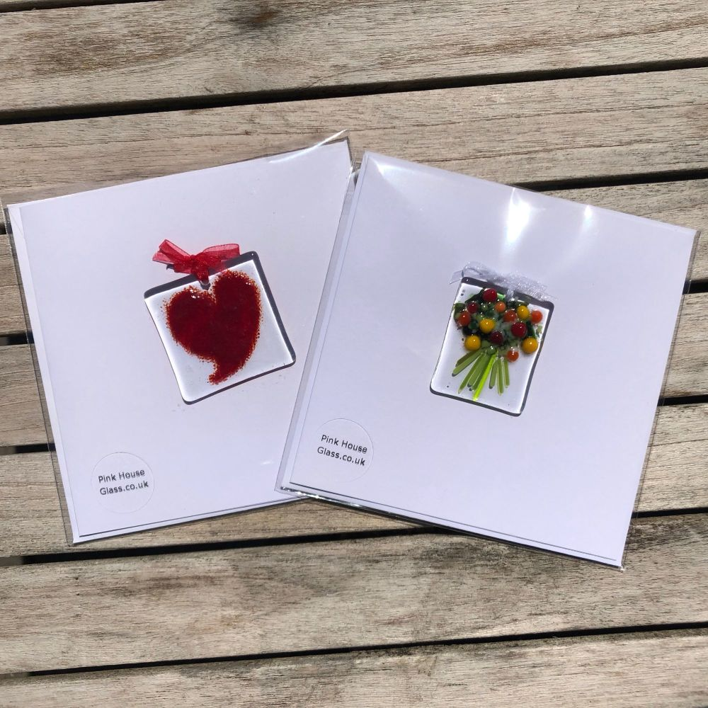 Red Heart and Bouquet Cards