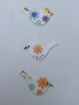 Trio of White opaque glass Floral LOVE birds