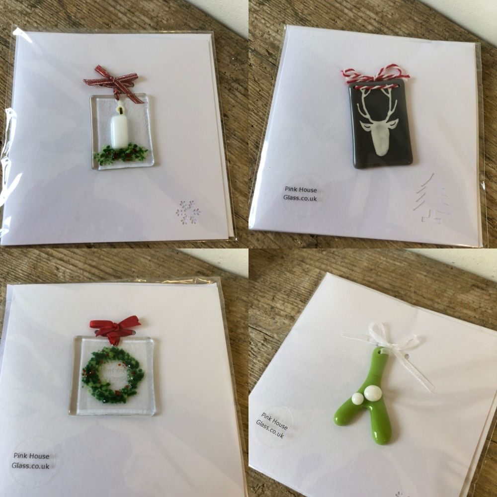 4 Festive cards with fused glass detachable hangings.
