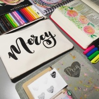 Mercy Canvas Pencil Pouch Organizer | Grace & Salt ink | Bible Journaling Supplies