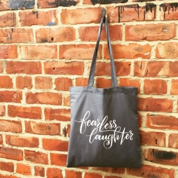 Fearless Laughter journal from Grace & Salt ink | mental health journal, fear and anxiety notebook | Fearless Laughter Tote