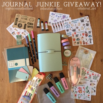 Journal Junkie Giveaway | Journaling with an inkDori Traveler's Notebook | Grace & Salt ink | journaling stickers, brush pens, washi tape journaling inserts