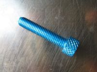 M 5 anodised allen socket head cap bolt, in various lengths. Sold individually. Colour blue. Aluminium.