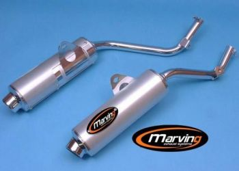 Marving Amacal Silencer in chrome and aluminium for Honda NX 650 Dominator, 1988- 1994