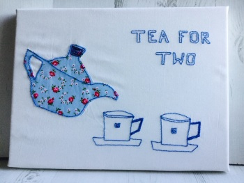 "Textile Picture on canvas ""Tea for Two"""