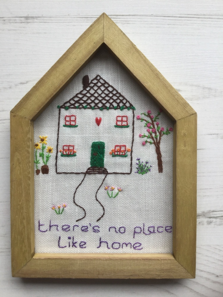 Hand embroidered picture There's No Place Like Home