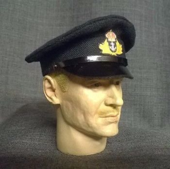 Banjoman custom made 1/6th Scale WW2 Royal Navy Officer's Cap - Black