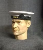 Banjoman 1:6 Scale Custom WW2 Royal Navy Seaman's Cap - White