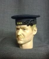 Banjoman custom made 1/6th Scale WW2 Royal Navy Seaman's Cap - Blue