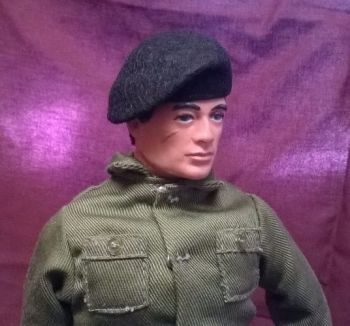 Banjoman 1:6 Scale Custom Made Beret For Vintage Action Man - Black