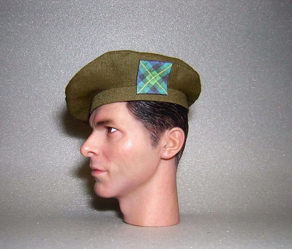 Banjoman 1:6 Scale Custom Tam O'Shanter - Khaki Green - Gordon Highlanders