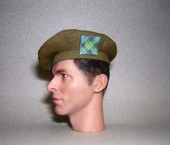 Banjoman 1:6 Scale Custom Tam O'Shanter - Khaki Green - Gordon Highlanders