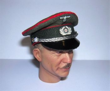 Banjoman custom made 1/6th Scale WW2 German Heer Artillery Officer's Visor Cap.