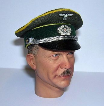 Banjoman custom made 1/6th Scale WW2 German Green Heer Cavalry Officer's Visor Cap.