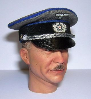 Banjoman custom made 1/6th Scale WW2 German Grey Heer Medical Officer's Visor Cap.
