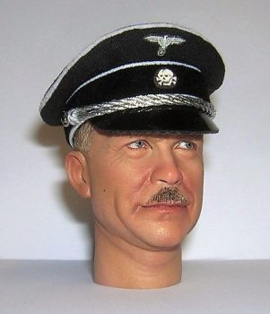 Banjoman custom made 1/6th Scale WW2 German Waffen SS Officer's Black Visor Cap.