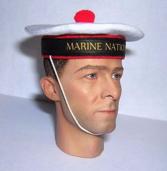 Banjoman custom made 1/6th Scale French Sailor's Cap - Marine Nationale.  White/Black.